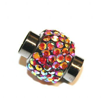 5mm x 15mm*12mm Red AB stone pave crystal gun metal magnetic clasps - 5mm